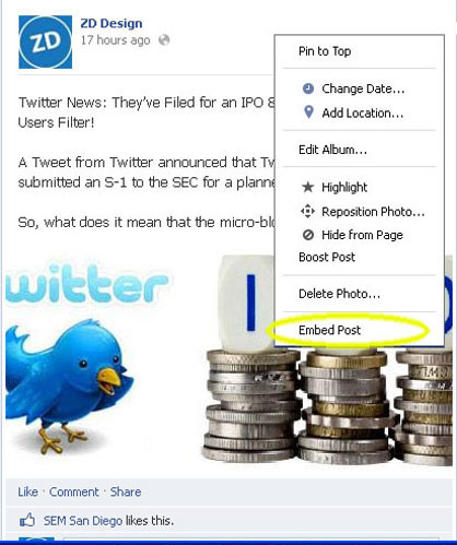 Facebook Embedding Step 2