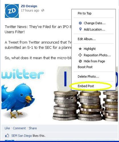 Facebook Embedding Step 2