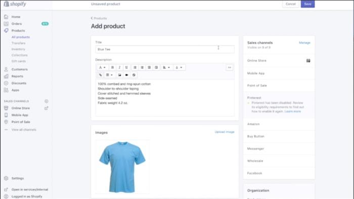 adding product description - shopify
